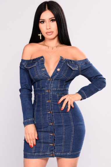 Denim Dress 2019 Denim kot elbise